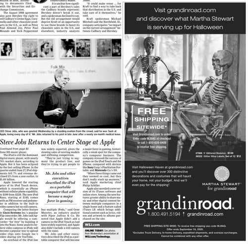 Steve Jobs and the Journal's Frightful Ad Placement