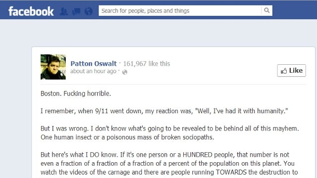 Patton Oswalt Pens Inspirational Missive on Humanity's Inherent Goodness in Wake of Boston Marathon Bombing