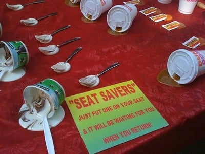 Fake Melted Food an Effective and Sociopathic Way to Save Your Seat