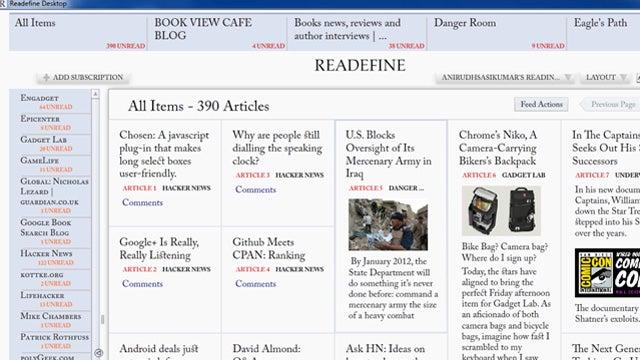 Readefine Desktop 2.0 Beautifies Google Reader or Any RSS Feed