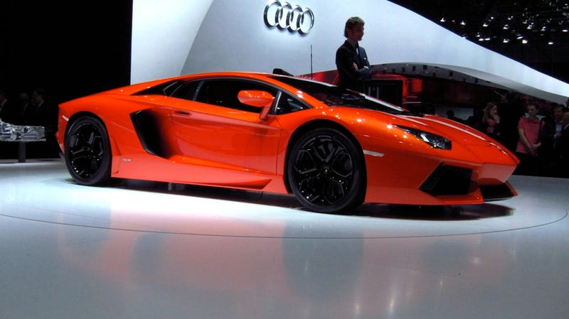 Lamborghini Aventador, live and in the orange metallic flesh