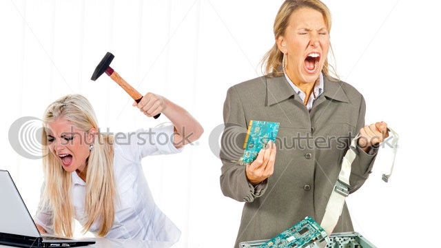 The Furious Femme Fatales of Computer Stock Photography