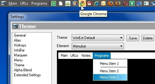 WinExt is an App-Launching Toolbar for Your Desktop