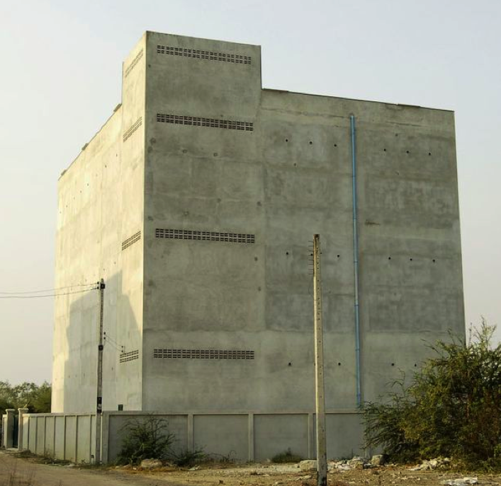 This windowless monolith is a bird nest factory