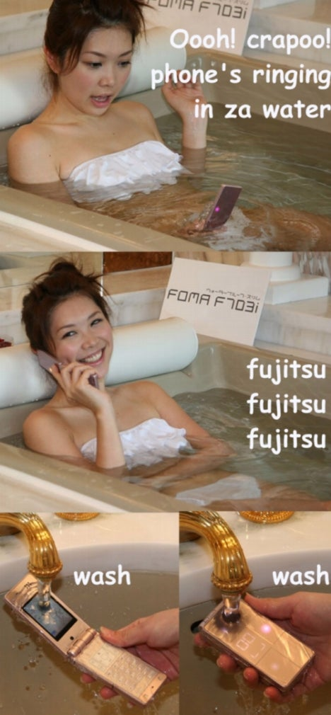 Fujitsu F706i is an Underwater TV Phone For Girls in Tubs