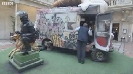 Banksy Bristol Museum Installation Features Burned-Out Ice-Cream Truck