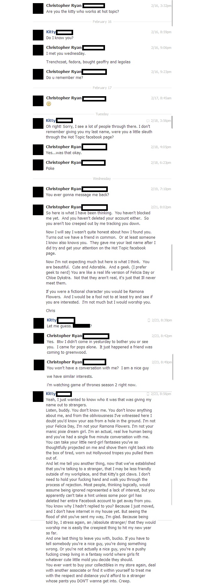 Creep Stalks Hot Topic Employee On Facebook, Gets Served