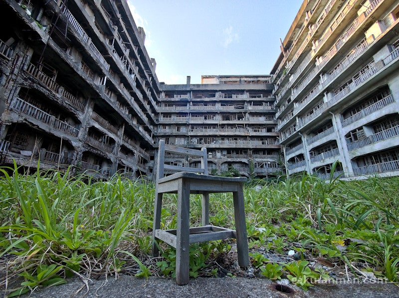 The abandoned man-made island shaped like a battleship