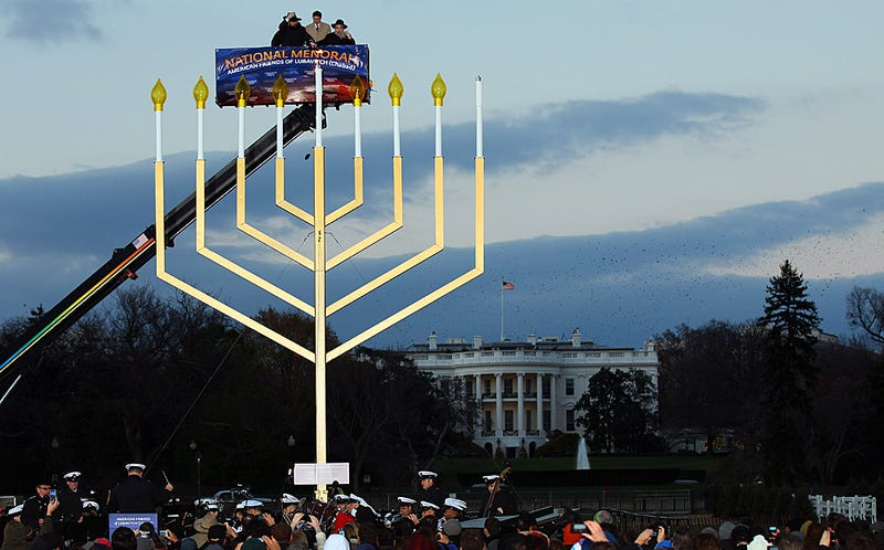 Politically Correct Jews Light the National 'Holiday Candelabra'