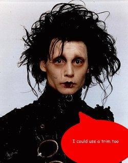 Real-Life Edward Scissorhands Cuts Hair With 10 Scissors At Once