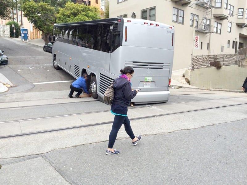 Beached Tech Bus Spoils Morning Commute