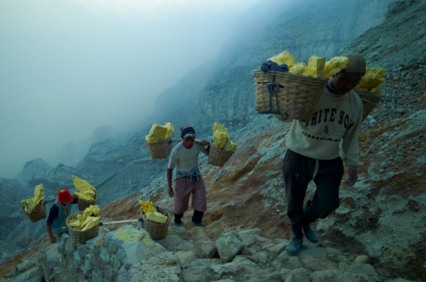 Farming Sulfur on the Edge of an Acid-Spewing Volcano Is Just as Miserable as It Sounds