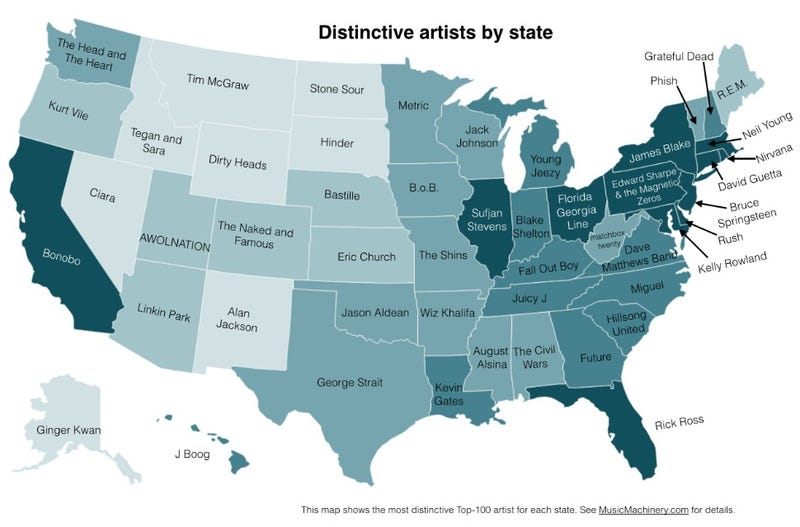 What's Your State's Favorite Band?