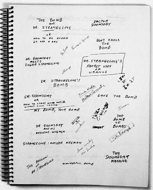 A list of unused titles for Dr. Strangelove, lifted from Stanley Kubrick's notebooks