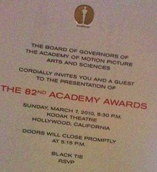 The 2010 Oscar Invite, Plus Academy Newbies