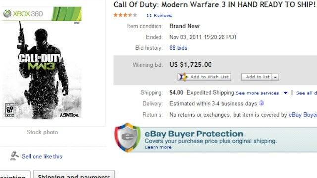 Leaked Copy of Modern Warfare 3 Sells for $1,725 on eBay