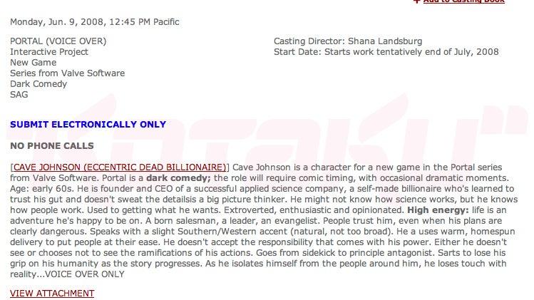 Rumor: Casting Call Reveals Portal 2 Details?