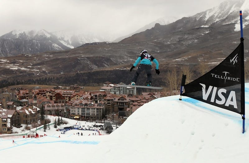 Snowboarder Drops Into Town