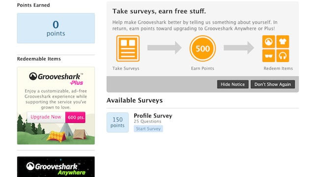 Try Out Grooveshark's Premium Services for Free by Taking a Few Surveys