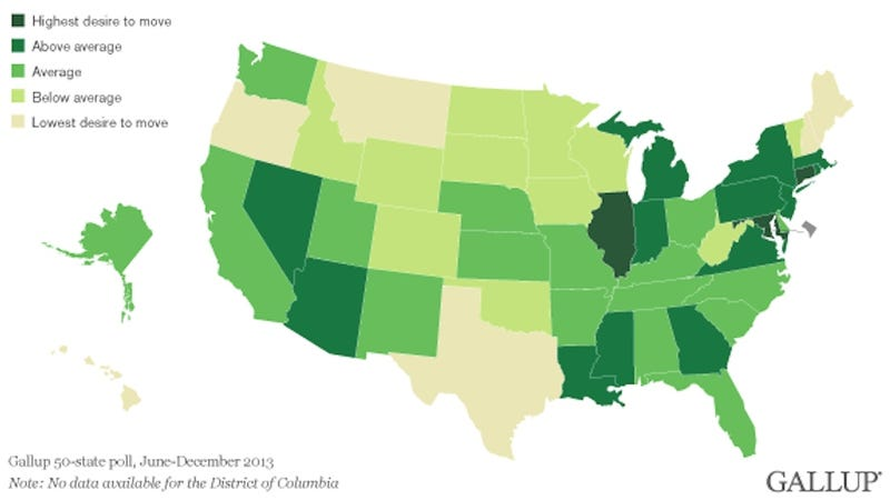 Map: How Much People Want to Leave Their Home State