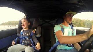 Adorable Kid Screams With Joy When Dad Drifts His Subaru