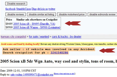Craigslist Car Research Extension Makes Used-Car Shopping Easier