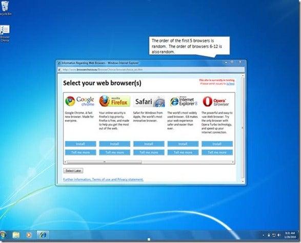 Microsoft's Impartial, Antitrust-Friendly Browser Ballot Screen