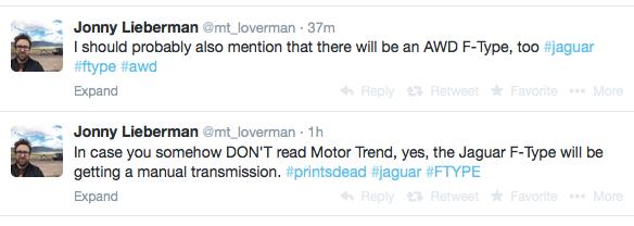 Jaguar F-Type to get a MANUAL BOX!