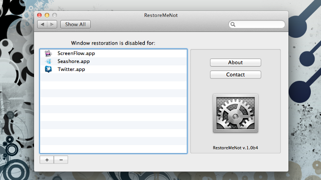 RestoreMeNot Keeps Specific Apps from Restoring in Mac OS X Lion