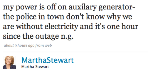 The Power Goes Out on the Twitterati