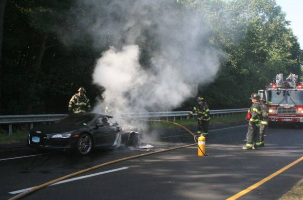 Powerball Winner's Week-Old Audi R8 Burns On Highway