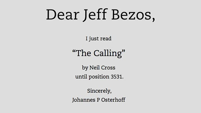 Emailing Jeff Bezos Every Time You Read a Book on Kindle Is the Best Art Project