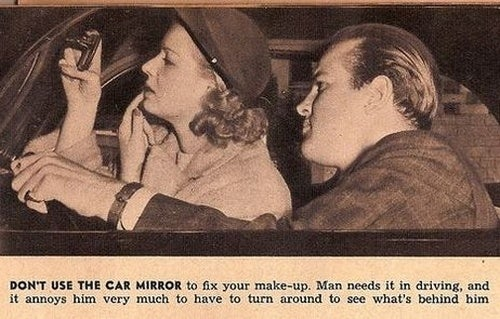Don't Use The Man's Rearview Mirror For Makeup Fixes