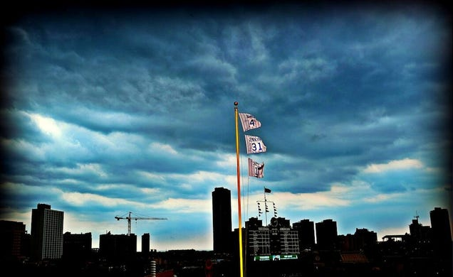 the sky above wrigley field today was spectacularly haunting