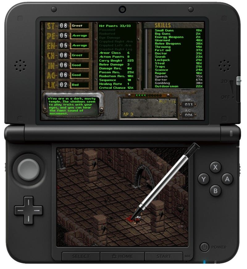 Mockup Of Fallout Running On a 3DS
