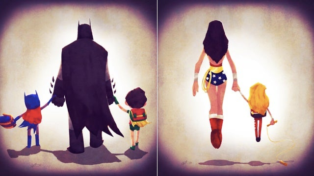 Justice League members walk their young sidekicks to school