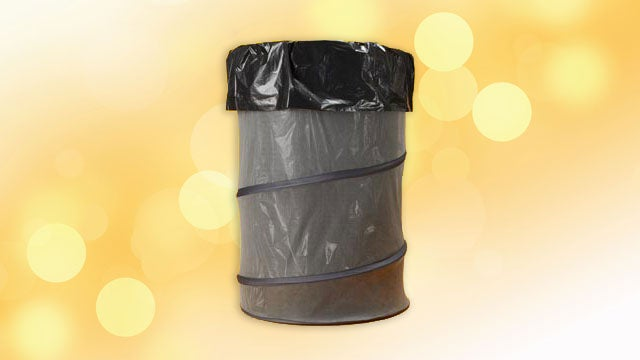 Repurpose a Collapsible Laundry Bin as a Temporary Garbage Can