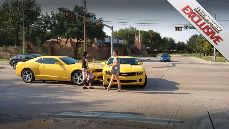 Yes, this yellow Camaro crashed into an identical yellow Camaro