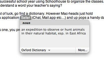 Apple OS X's Built in Dictionary