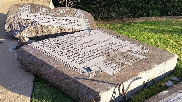 Oklahoma Man Says He Pissed On, Destroyed Ten Commandments For Satan