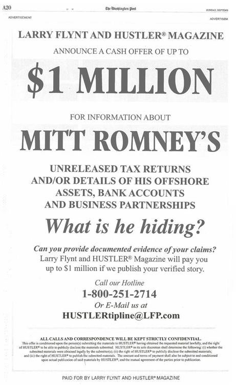 Hustler Has a Million Dollars for Anyone with Details on Romney's Unreleased Tax Returns