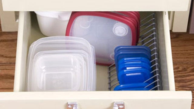 Use CD Racks to Organize Container Lids in Drawers