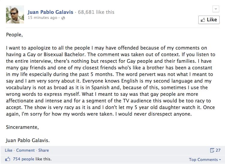 Bachelor Star Juan Pablo Galavis: Pervert Gays Don't Belong on TV