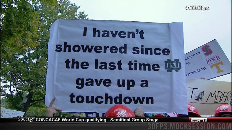 Eifert Tower! Your Roundup Of The Best Signs Behind The College Gameday Crew, Plus Lee Corso Dressed As A Leprechaun