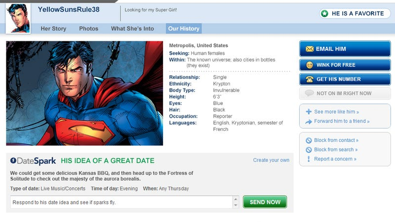 Superman's Match.com Profile Is Online Dating Kryptonite. What the Heck Is Wonder Woman Thinking?