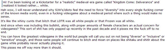 Idiots Fight To Keep A Medieval Game White
