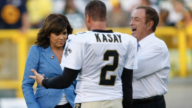 Michele Tafoya Seems To Be Staring At Whatever Al Michaels Finds So Funny