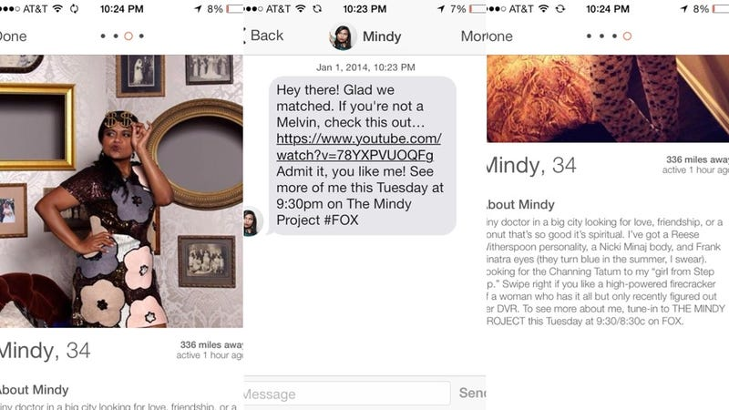 """The Mindy Project"" Is Advertising on Tinder with Fake Profiles"