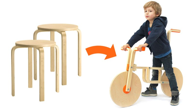 Turn Some Boring Stools Into a Pint-sized Scooter With This Brilliant Ikea Hack