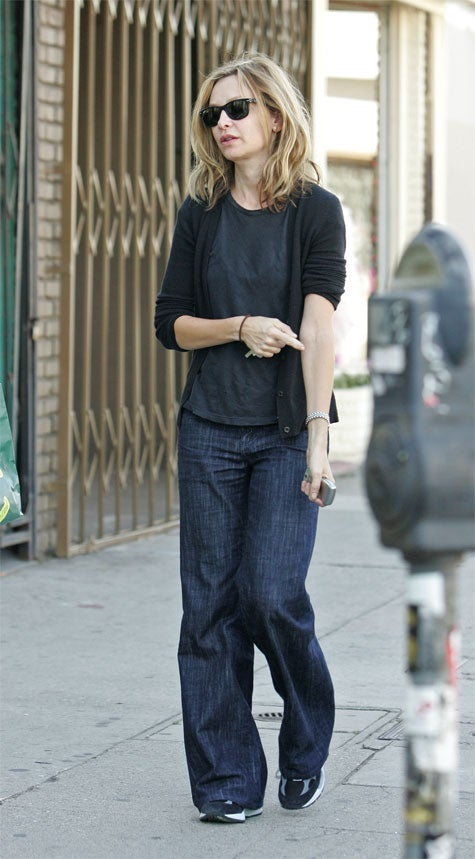 Tired Calista Flockhart Tries To Find A Vein